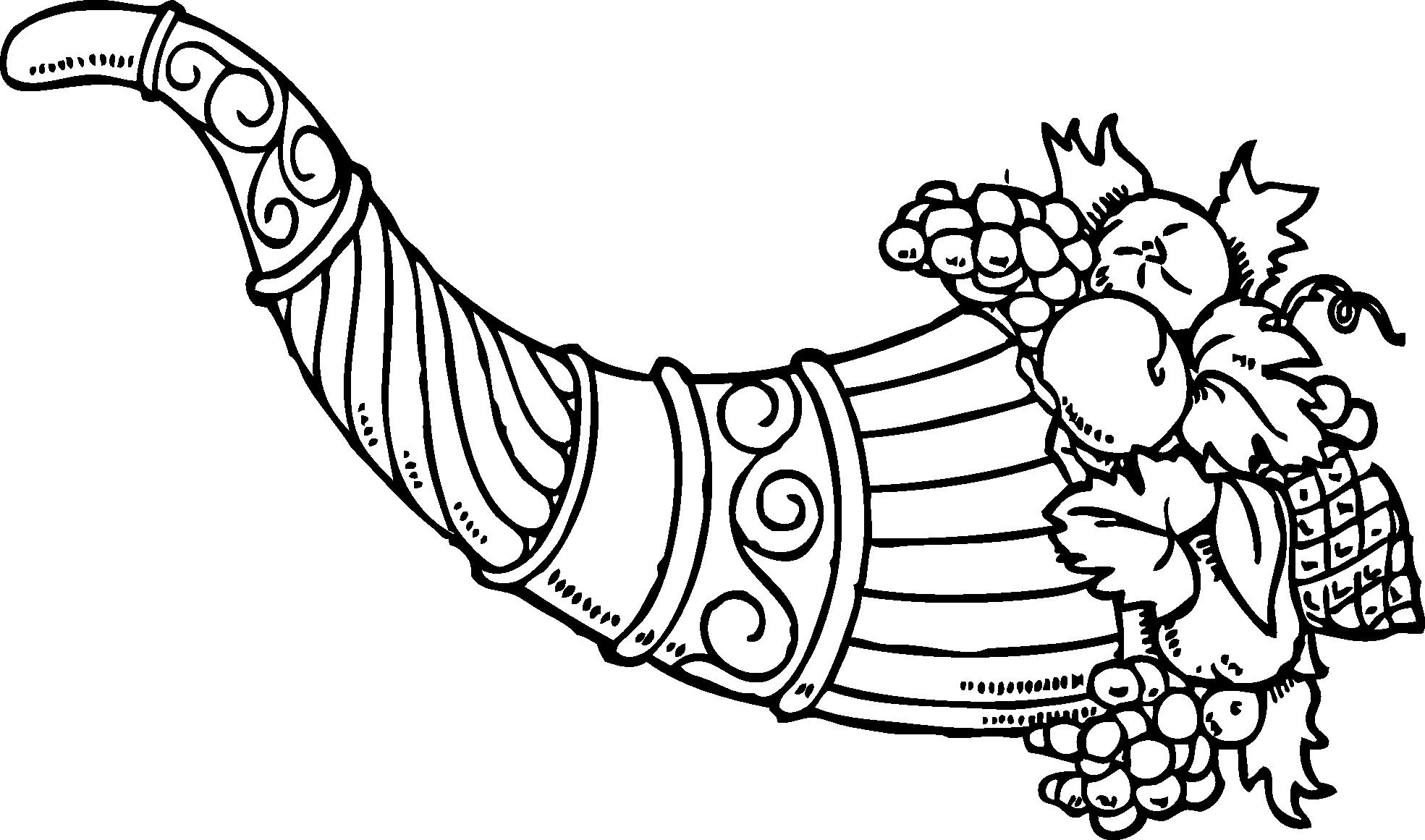 Cornucopia clipart cranberry Clip Clipart Art Black Cornucopia