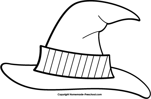 Witch Hat clipart black and white  Panda And White Free