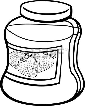 Black & White clipart jam Clipart black Strawberry jam white