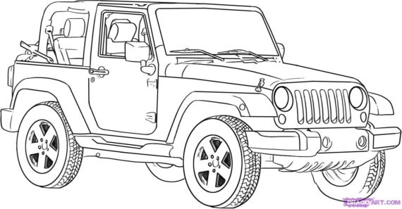Black & White clipart jeep Clipart #5555 Draw Best of