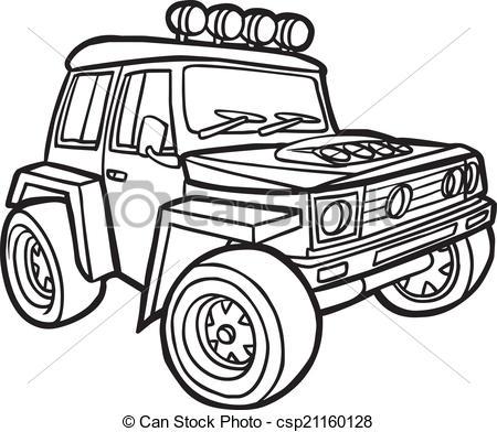 Black & White clipart jeep Of Cartoon a Cartoon of