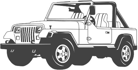 Black & White clipart jeep Clipart white and white black