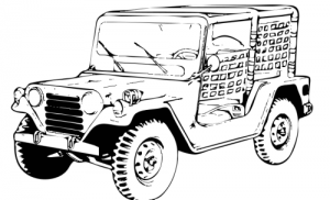 Black & White clipart jeep  Clip Jee Art Download
