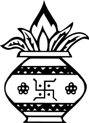 Black & White clipart kalash Clipart clip black art Kalash