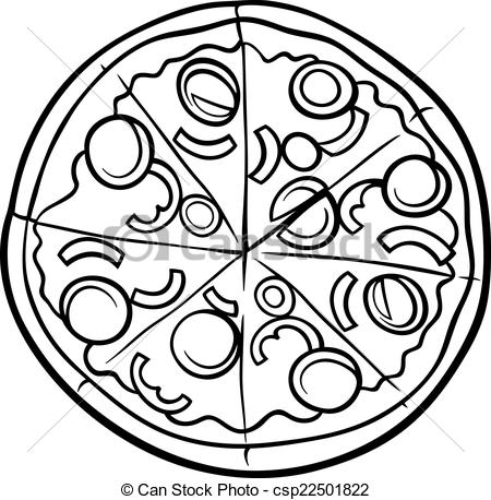 Pizza clipart black and white Black pizza coloring coloring page