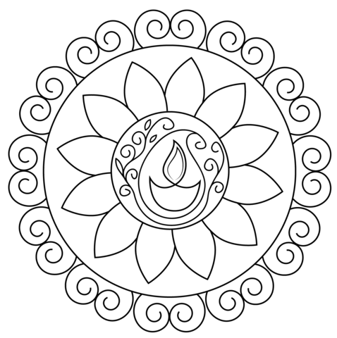 Black & White clipart rangoli Page Free Rangoli version Diwali