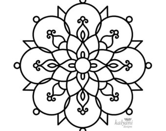 Black & White clipart rangoli Diwali Printable Sheets Colouring Pages