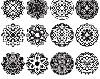 Black & White clipart rangoli Geometric Digital Rangoli Flowers Clipart