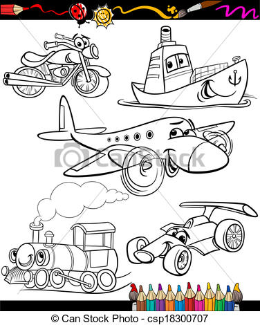 Black & White clipart transport For for coloring set