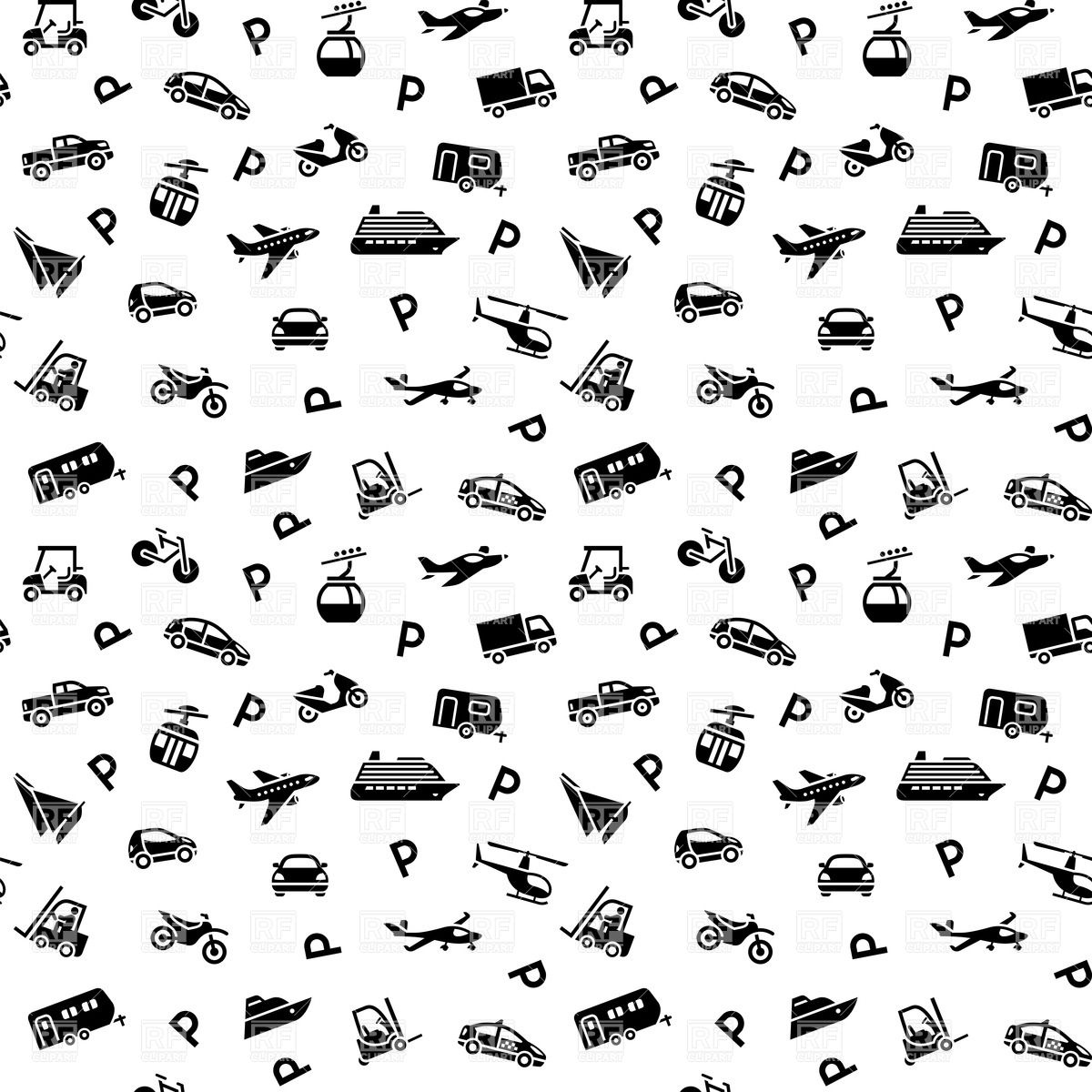 Black & White clipart transport Transport collection pattern clipart white