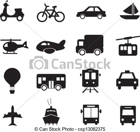 Black & White clipart transport Vectors  Illustration White Black