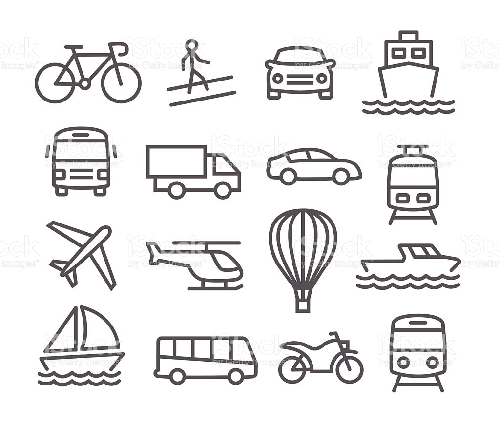 Black & White clipart transport Vector art white Transport collection