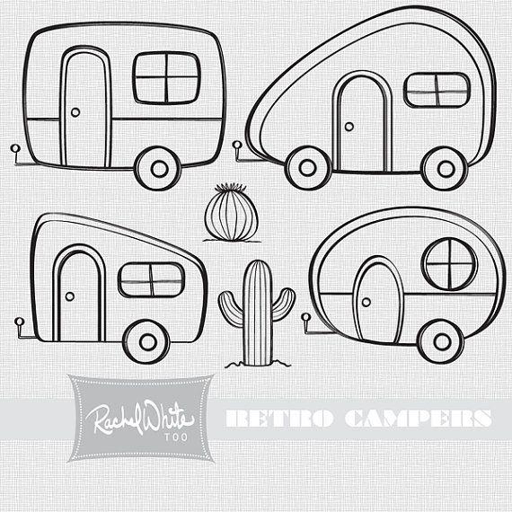 Camper clipart painted vintage Retro Digital Campers Pinterest ideas