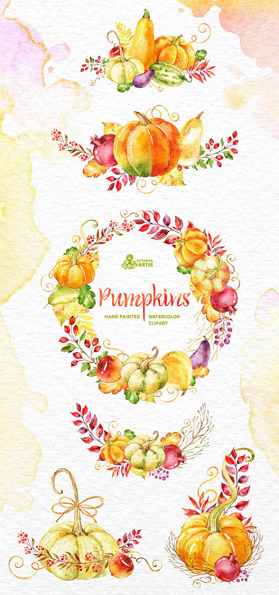 Squash clipart pumpkin vine Wreath DIY fall Clipart watercolor