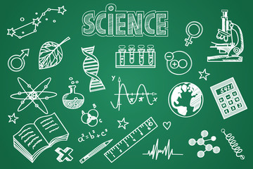 Blackboard clipart science Blackboard Chalk drawn Hand science