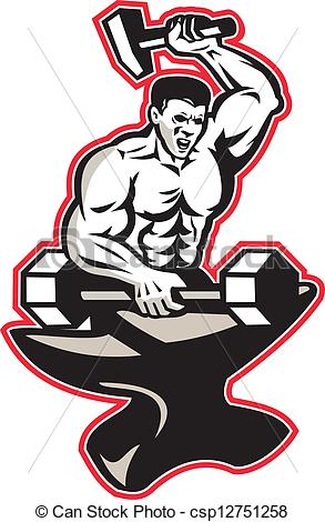 Blacksmith clipart ironworker Striking  Vector Anvil With