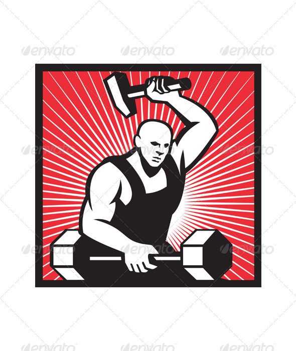Blacksmith clipart ironworker Barbell and Hammer With Editor