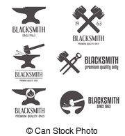 Blacksmith clipart metal work  royalty and Set logotype