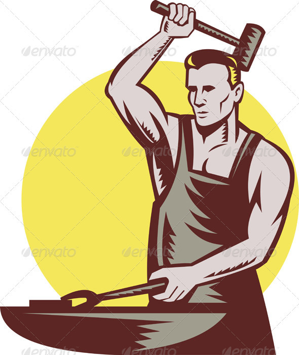 Blacksmith clipart steel worker Hammer GraphicRiver Hammer Blacksmith with