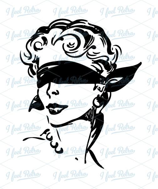 Blindfold clipart  Retro blindfold Woman European