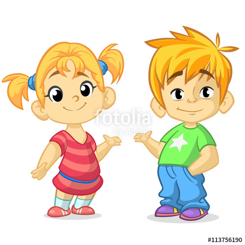 Blonde clipart brother Girl cartoon boy up design