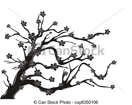 Blossom clipart black cherry Silhouette blossom Vector silhouette the