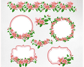 Blossom clipart frame Lace and vector hand Arrows