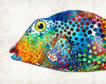 Blowfish clipart colorful tropical fish Print Puffer Tropical from CANVAS