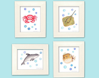 Blowfish clipart sea creature Etsy art print Ocean decor