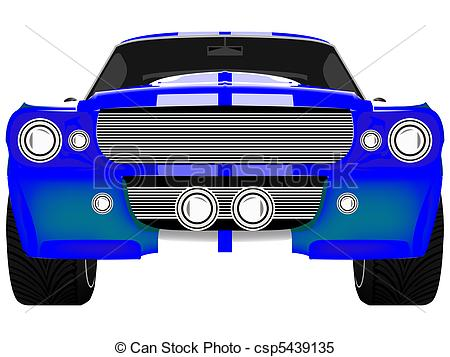 Blue Car clipart car front Of Vector blue white isolated