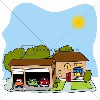 Blue Car clipart house car Clipart House Garage Info Car