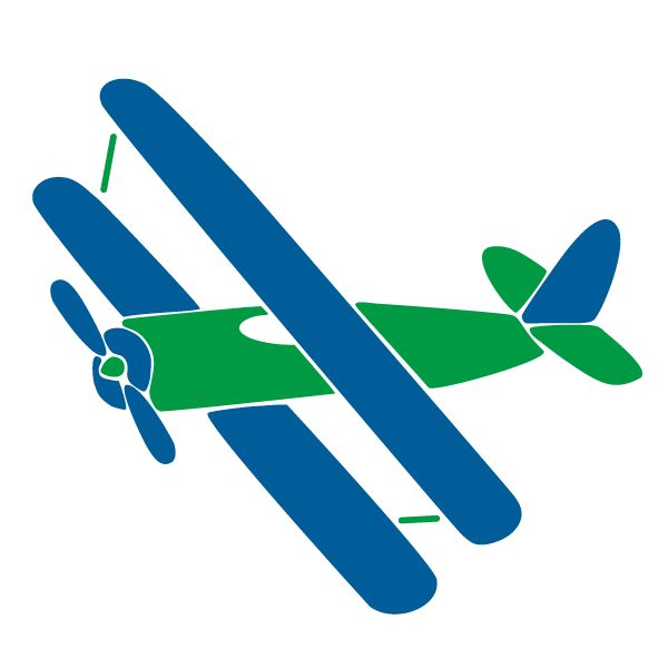 Blue clipart biplane Stencil Biplane Transportation  and