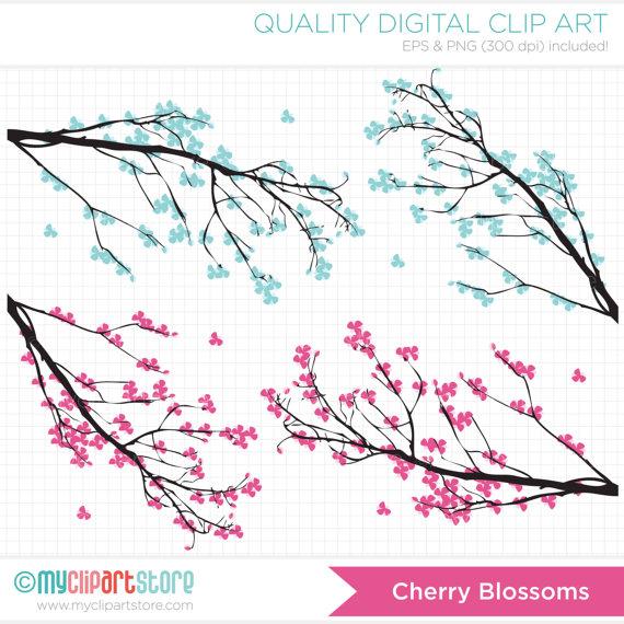 Blue clipart cherry blossom Blossoms Cherry /  Art