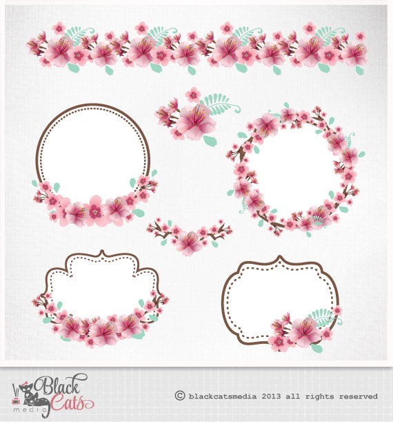 Blue clipart cherry blossom Eps frames Clipart Cherry Clipart