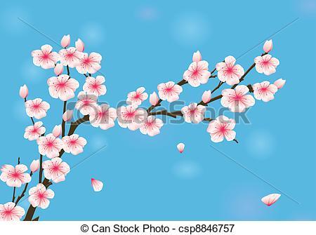 Blue clipart cherry blossom Stock Illustration  Vector Blossom