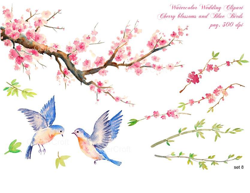 Blue clipart cherry blossom Blue cherry clipart  ~