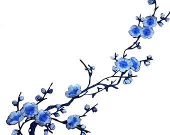Blue clipart cherry blossom Etsy Applique Floral Blossom Cherry