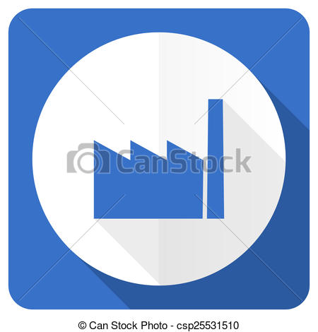 Blue clipart factory Stock manufacture icon  flat