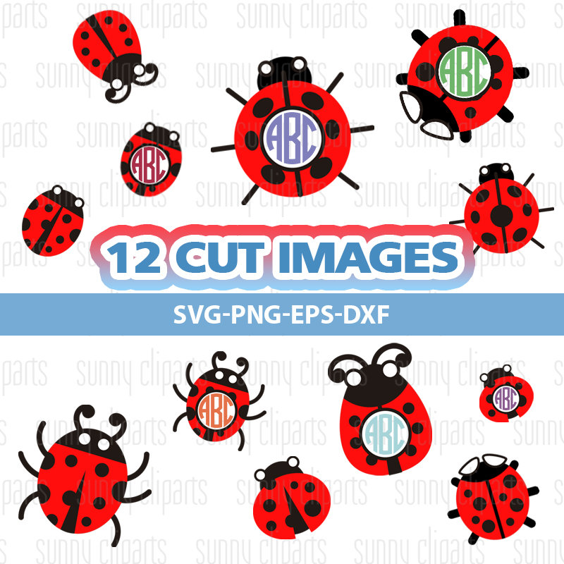 Blue clipart ladybird This is Monogram Ladybug Svg