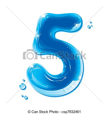 Blue clipart number 5 5 Number Liquid csp7832461 Liquid