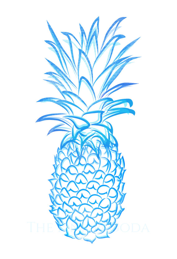 Blue clipart pineapple Blue by thepinkpagoda Living by