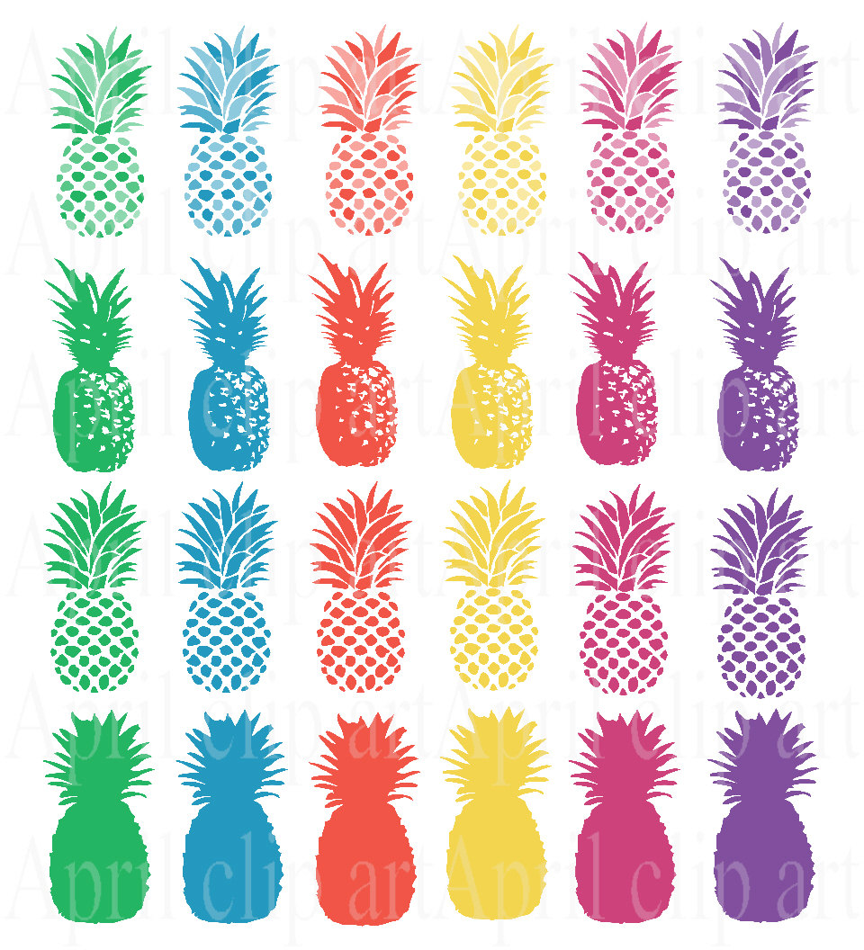 Blue clipart pineapple Blue Pineapple red Set Silhouettes
