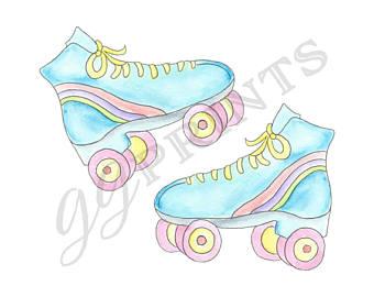 Blue clipart roller skate Roller Roller Etsy Clipart Skate