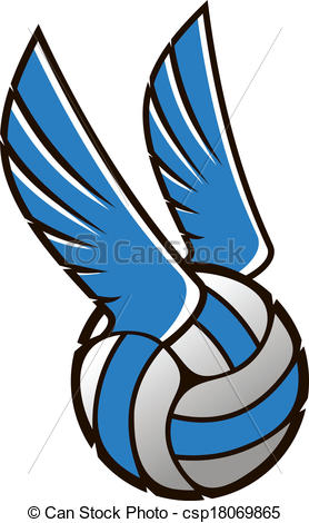 Blue clipart volleyball Art Vector  Volleyball wings