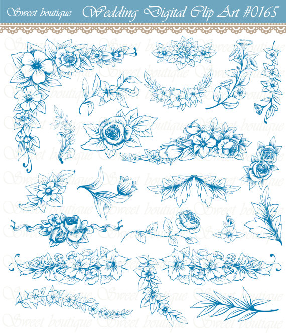 Blue Flower clipart teal flower Navy art Digital digital 0165