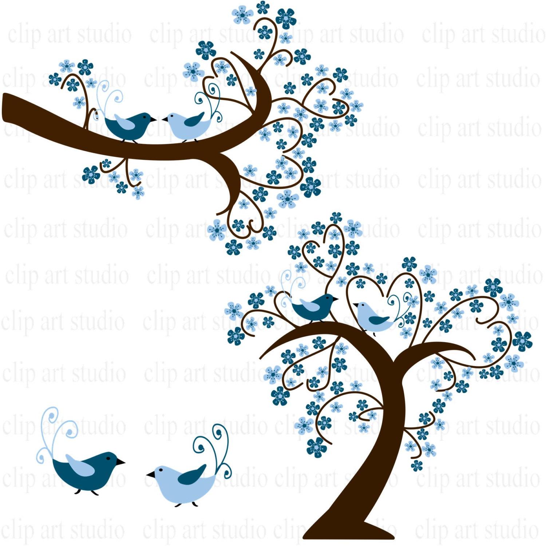 Blue Flower clipart bird Birds clipart hearts art branch