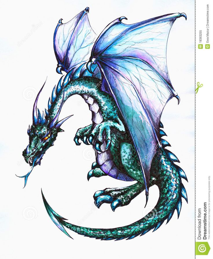 Blue Dragon clipart simple Watercolors Silhouette with Decoration dragon