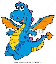 Blue Dragon clipart simple Cartoon cute Blue blue vector