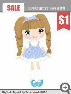 Blue Dress clipart doll Dress infantiles doll girl girl