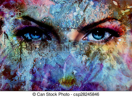 Blue Eyes clipart eye contact Color effect painting eyes painting